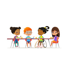 girl in wheelchair sitting at table in canteen and vector image