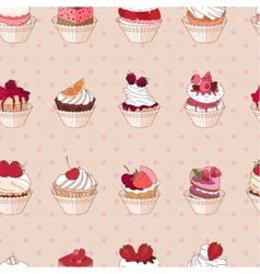 Seamless pattern with different kinds of fruit vector image