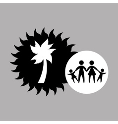 silhouette family vacation coconut tree vector image