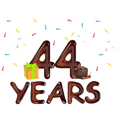 44 years greeting cards with gift box vector image
