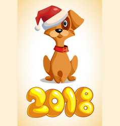 cartoon dog with the inscription 2018 vector image
