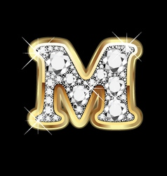 Letter m gold and diamond vector