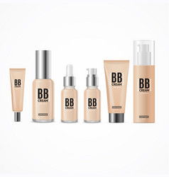 realistic 3d empty template bb cream package set vector image vector image