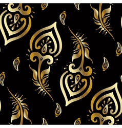 Beautiful peacock feathers Gold pattern vector image
