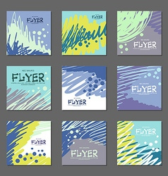 Collection of abstract postcards blue tones for vector image