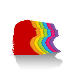 colorful silhouette of woman vector image vector image