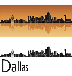 Dallas skyline in orange background vector image vector image