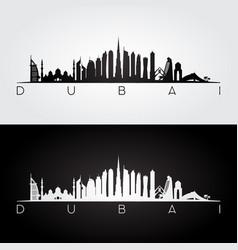 Dubai skyline and landmarks silhouette vector