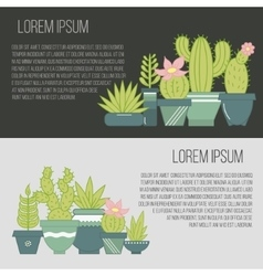 flat banners with succulent plants and vector image