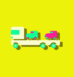 flat icon design collection car carrier truck vector image
