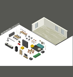 furniture set in isometric view vector image vector image