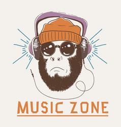 Music fan hipster monkey vector