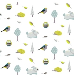 Blue bunny green hedgehog forest seamless pattern vector image vector image