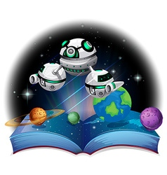 Book of spaceship flying in the galaxy vector image vector image
