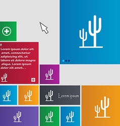 Cactus icon sign buttons Modern interface website vector image