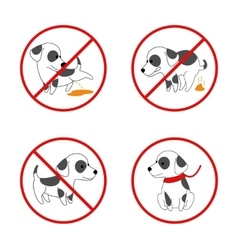 Dog signs No pissing and pooping icon vector image