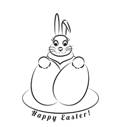 Easter bunny with eggs Monochrome pattern on a vector image