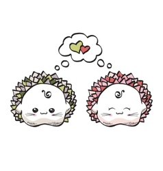 love hedgehogs kawaii style on a white background vector image vector image