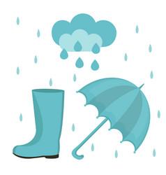 rain set of flat or cartoon style autumn vector image