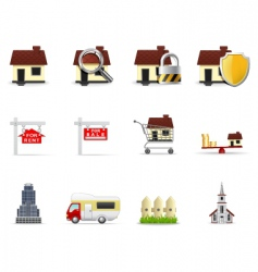 real-estate icons vector image