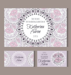 Set of invitation wedding cards with place for vector image vector image