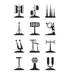 Various antennas and locators vector image