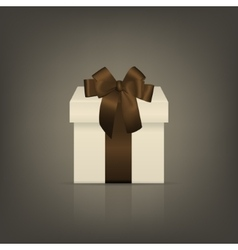 White square gift box with brown ribbon and bow vector image vector image