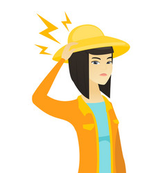 young asian farmer with lightning over her head vector image vector image