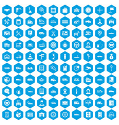 100 auto icons set blue vector image