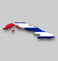 3d isometric map cuba with national flag vector