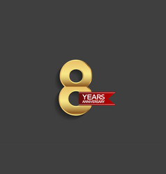 8 years anniversary simple design with golden vector