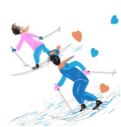 A Couple Skiing vector