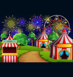 Amusement park scene with circus tent and firework vector