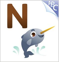 Animal alphabet for kids n for narwhal vector