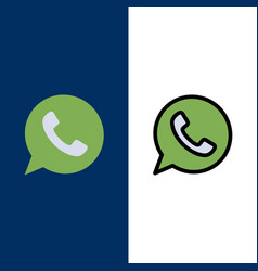 App chat telephone watts app icons flat and line vector