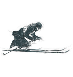 Athletes with physical disabilities - skiing vector