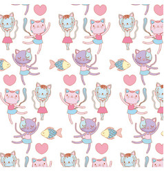 Ballerina cats and fish decorated wallpaper vector