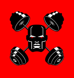 barbell crossed emblem for gym head of vector image