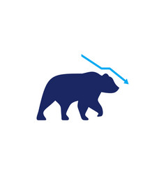 bear graph chart down arrow stock market logo icon vector image