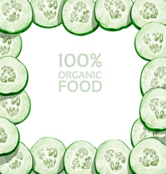 Beautiful frame from slices of fresh cucumber vector image