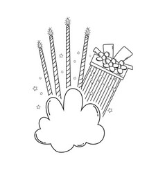Birthday gift box and candles on cloud in black vector