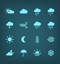 blue weather icon set vector image