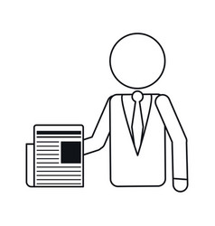 Business man document work office outline vector