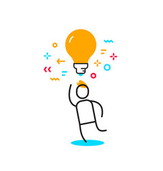 business of a man with yellow light bulb over his vector image