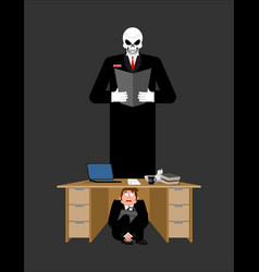 businessman scared under table of creditor vector image