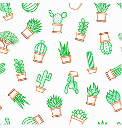 cactus and succulents in pots seamless pattern vector image