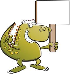 Cartoon tyrannosaurus rex holding a sign vector