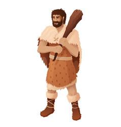 caveman holding wooden club flat vector image