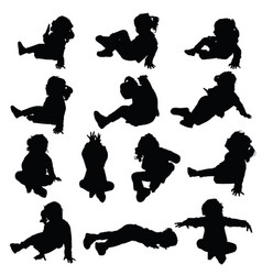 child silhouette little and happy in black color vector image