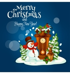 Christmas and New Year poster with snowman vector image